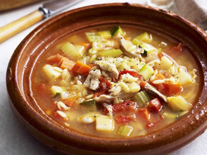 "**[Greek chicken and vegetable soup](https://www.womensweeklyfood.com.au/recipes/greek-chicken-and-vegetable-soup-8173|target=""_blank"")**"