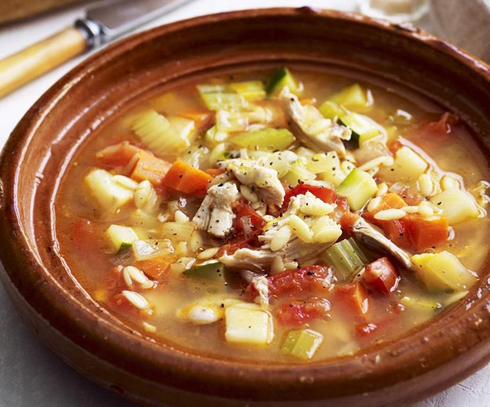 Greek chicken and vegetable soup