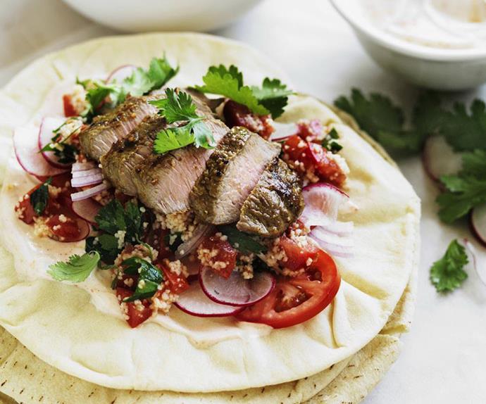 lamb and harissa yogurt wraps