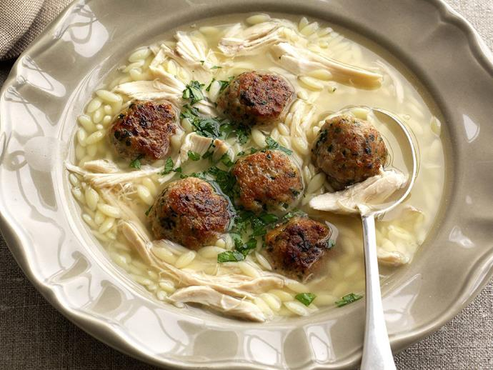"""**[Chicken and risoni soup with herbed meatballs](https://www.womensweeklyfood.com.au/recipes/chicken-and-risoni-soup-with-herbed-meatballs-8189 target=""""_blank"""")**  Also known as risi, risoni is a very small, rice-shaped pasta similar to orzo that is often used by Italian cooks when making soup. It can also be baked in a casserole or served as a side dish to a rich meaty main course."""