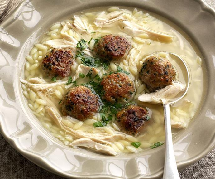 chicken and risoni with herbed meatballs