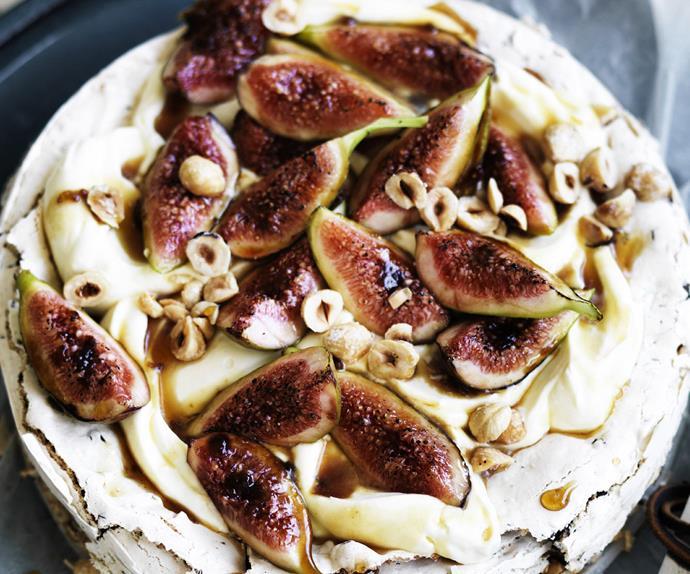 Hazelnut choc chip cake withFRANGELICO CREAM AND FIGS