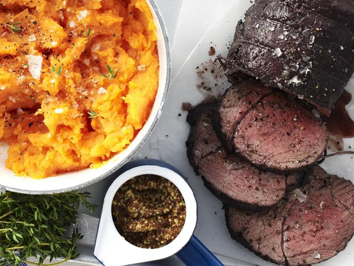"""**[Beef with red wine and kumara mash](https://www.womensweeklyfood.com.au/recipes/beef-with-red-wine-and-kumara-mash-15277