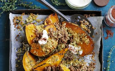 Spicy roast pumpkin with lamb