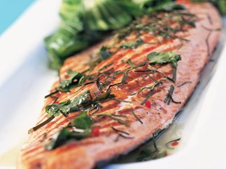 Slow-roasted salmon with asian greens