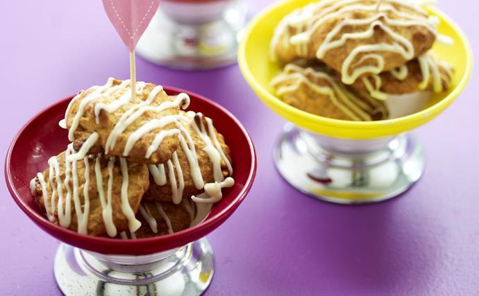white-choc peanut cornflake cookies