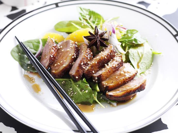 "[Roast duck with orange and snow pea salad](https://www.womensweeklyfood.com.au/recipes/roast-duck-with-orange-and-snow-pea-salad-15282 target=""_blank"")"