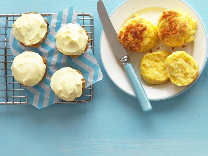 "These traditional [pumpkin scones](https://www.womensweeklyfood.com.au/recipes/cheesy-pumpkin-scones-7742|target=""_blank"") with a cheesy twist are perfect for morning or afternoon tea."