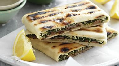Lamb, cheese and spinach gözleme