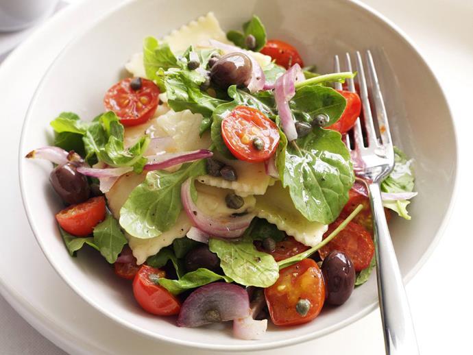 "**[Pumpkin ravioli and roasted tomato salad](https://www.womensweeklyfood.com.au/recipes/pumpkin-ravioli-and-roasted-tomato-salad-3142|target=""_blank"")**"