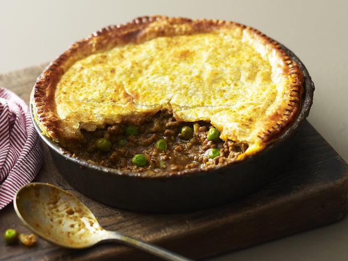 """**[Curried beef and pea pie](https://www.womensweeklyfood.com.au/recipes/curried-beef-and-pea-pie-7783