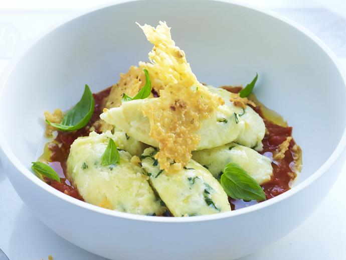 "This [ricotta gnocchi with rich tomato sauce](https://www.womensweeklyfood.com.au/recipes/ricotta-gnocchi-with-rich-tomato-sauce-3146|target=""_blank"") replaces potato with firm ricotta for an extra creamy gnocchi."