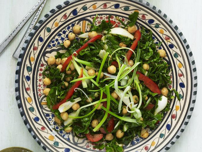 """Fresh, green and very, very good for you, this [chickpea and silverbeet salad](https://www.womensweeklyfood.com.au/recipes/chickpea-and-silverbeet-salad-7794