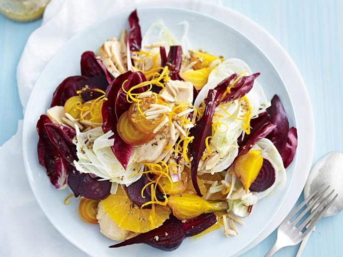 "**[Roasted beetroot, orange and char-grilled chicken salad](https://www.womensweeklyfood.com.au/recipes/roasted-beetroot-orange-and-char-grilled-chicken-salad-3168|target=""_blank"")**"