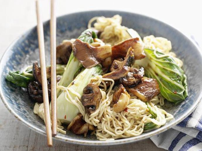 """**[Noodles and buk choy with mixed garlic mushrooms](https://www.womensweeklyfood.com.au/recipes/noodles-and-buk-choy-with-mixed-garlic-mushrooms-7824