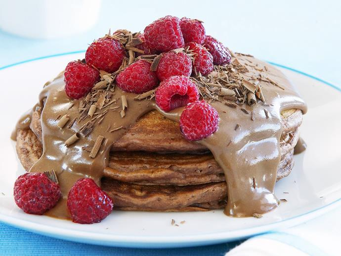 "**[Chocolate pancakes with chocolate custard](https://www.womensweeklyfood.com.au/recipes/chocolate-pancakes-with-chocolate-custard-7827|target=""_blank"")**  Our fluffy buttermilk chocolate pancakes are for true chocolate-lovers only! Topped with a homemade thick and creamy chocolate custard and fresh raspberries, it's the ultimate chocoholics' dessert."