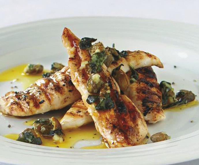 BARBECUED CHICKEN WITH GARLIC AND CAPER BUTTER