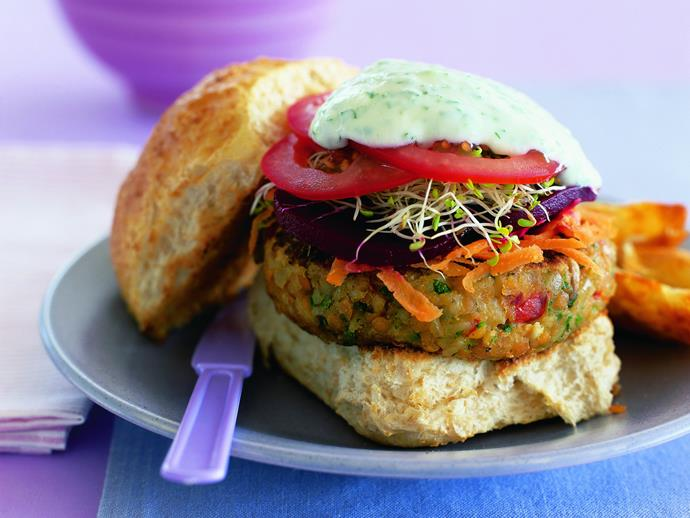 "**[Vegetable burgers](https://www.womensweeklyfood.com.au/recipes/vegetable-burgers-7855|target=""_blank"")** This vegetarian version is made with a lentil-based patty and a tangy mint yoghurt sauce"