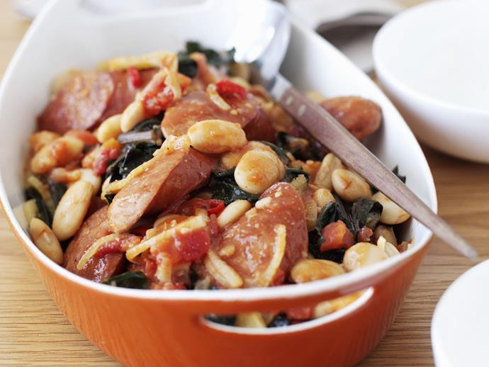 """Easy to make and reheat the next day, this flavourful [chorizo and white bean bake](https://www.womensweeklyfood.com.au/recipes/baked-chorizo-and-white-beans-7868