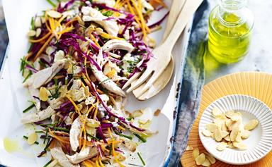 Blue cheese, apple & barbecued chicken slaw