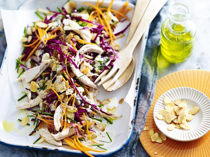 "[Blue cheese, apple & barbecued chicken slaw](https://www.womensweeklyfood.com.au/recipes/blue-cheese-apple-and-barbecued-chicken-slaw-7883|target=""_blank""): You can throw together this dinner in just minutes with the help of a ready-made roast chook."