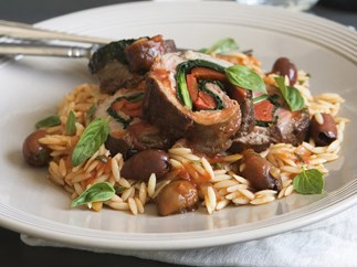 braised veal rolls with pasta and olives