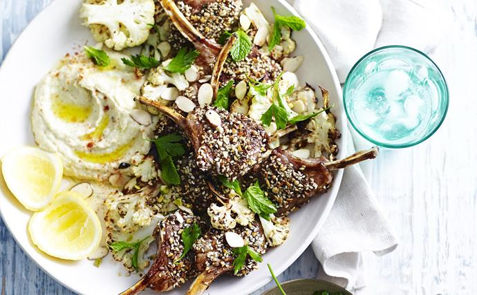 DUKKAH-CRUSTED LAMB CUTLETS WITH CAULIFLOWER