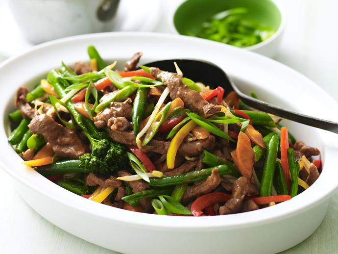 "A super fast and easy [stir-fried hoisin lamb and vegetables](https://www.womensweeklyfood.com.au/recipes/stir-fry-hoisin-lamb-and-vegetables-3211|target=""_blank"") dish."