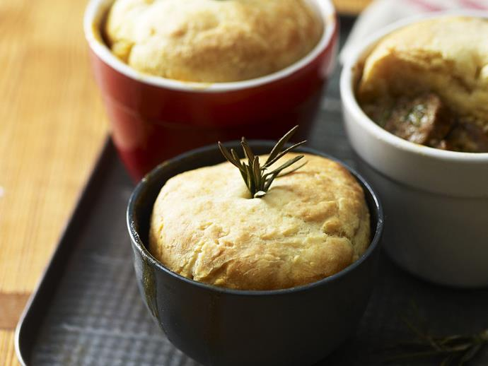 """**[Lamb and rosemary pies with scone topping](https://www.womensweeklyfood.com.au/recipes/lamb-and-rosemary-pies-with-scone-topping-7929