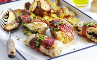 herb-stuffed chicken with tomato salad