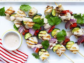 grilled fish kebabs