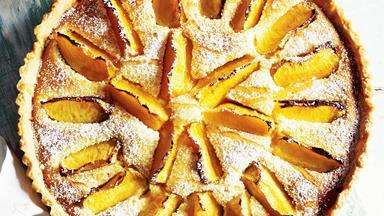 Peach & rose frangipane tart