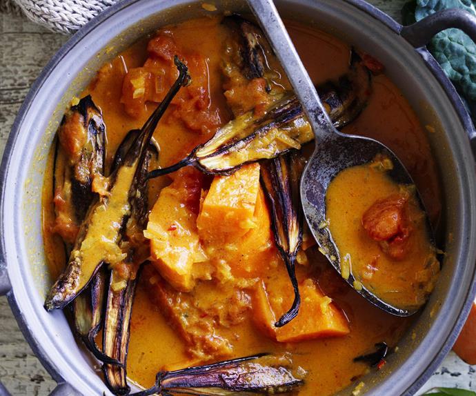 kumara, eggplant and coconut curry