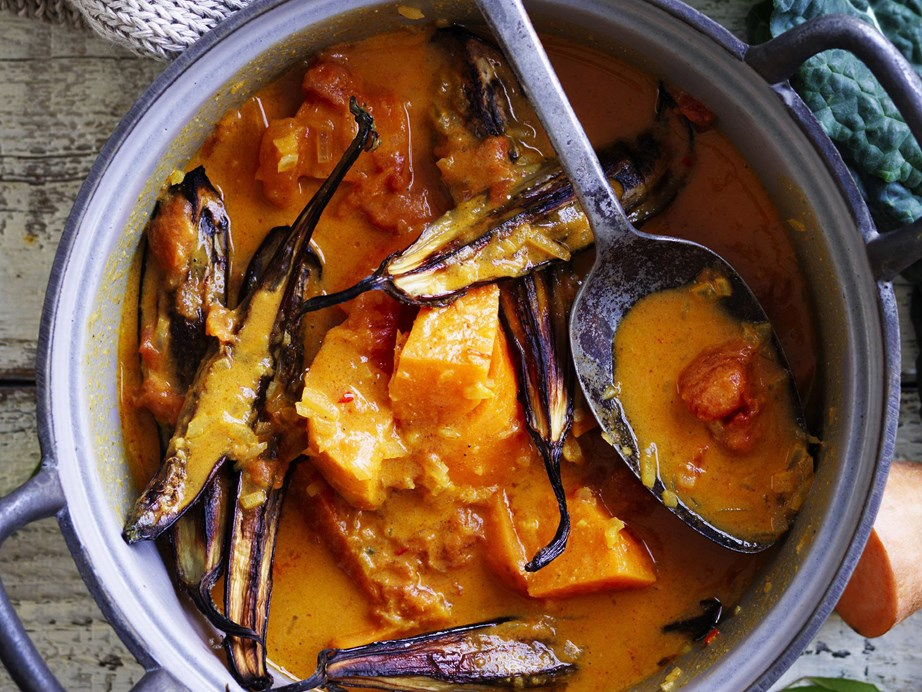 "This [kumara, eggplant and coconut curry](https://www.womensweeklyfood.com.au/recipes/kumara-eggplant-and-coconut-curry-7998|target=""_blank"") is a mild and tender dish perfect for a chilly night in."