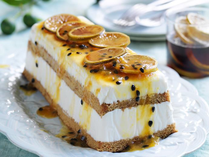 "[Lime, passionfruit and lemon grass frozen yoghurt cake recipe.](https://www.womensweeklyfood.com.au/recipes/limepassionfruit-and-lemon-grass-frozen-yoghurt-cake-2994|target=""_blank"")"