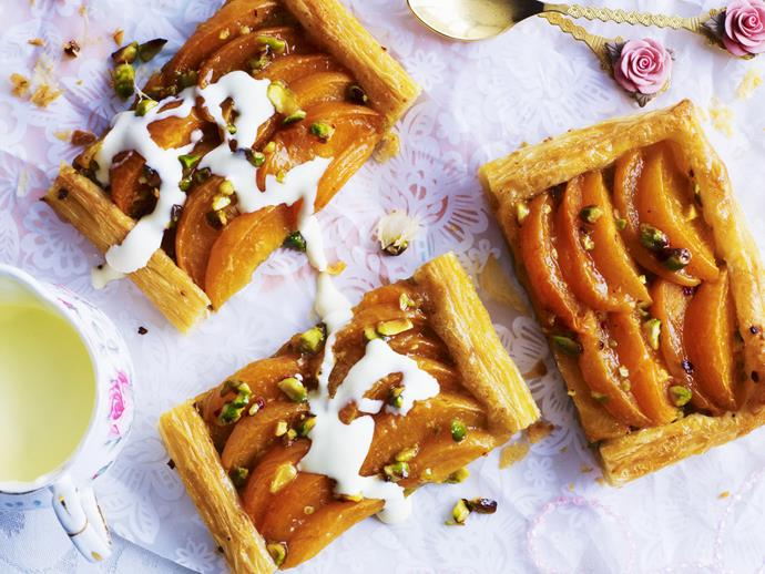 """**[Apricot and pistachio tart](https://www.womensweeklyfood.com.au/recipes/apricot-and-pistachio-tart-8004
