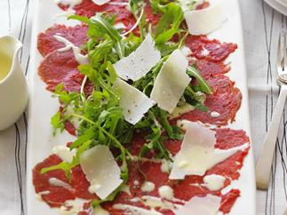 beef carpaccio with rocket, parmesan and aioli