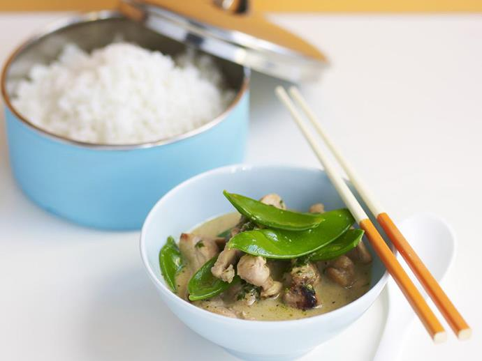 "A fast, easy and fragrant [green curry chicken with snow peas](https://www.womensweeklyfood.com.au/recipes/green-curry-chicken-with-snow-peas-7444|target=""_blank"")."