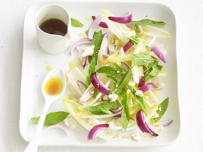 """**[Red onion salad with witlof and feta](https://www.womensweeklyfood.com.au/recipes/red-onion-salad-with-witlof-and-feta-3006