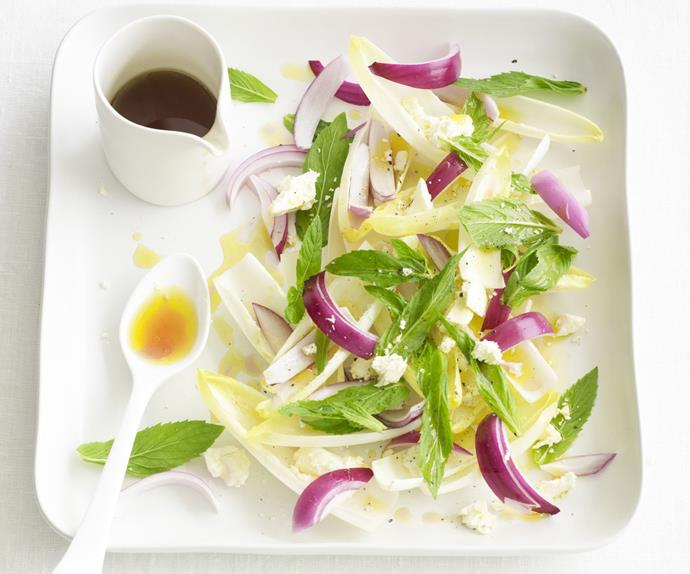 red onion salad with witlof and fetta