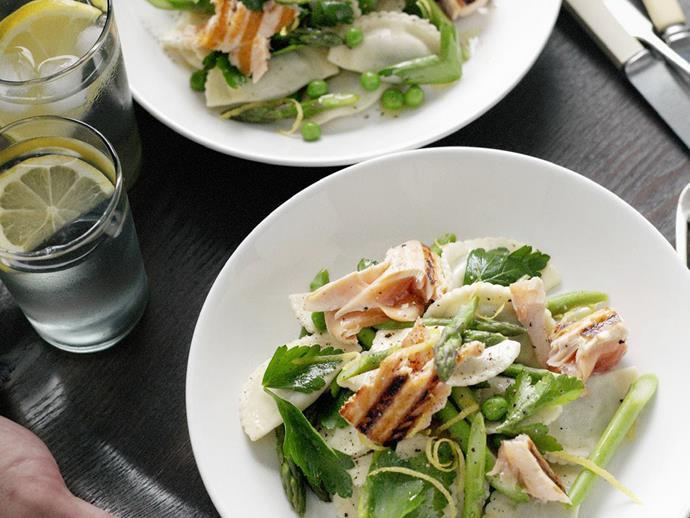 "**[Warm salmon and lemon-herbed pasta salad](https://www.womensweeklyfood.com.au/recipes/warm-salmon-and-lemon-herbed-pasta-salad-7447|target=""_blank"")**"