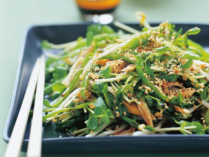 "This [sesame chicken salad](https://www.womensweeklyfood.com.au/recipes/sesame-chicken-salad-3018|target=""_blank"") makes a fresh and satisfying lunch."
