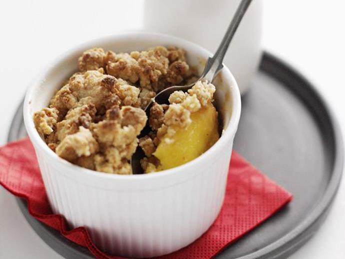 "**[Peach and amaretti crumbles](https://www.womensweeklyfood.com.au/recipes/peach-and-amaretti-crumbles-3019|target=""_blank"")**"