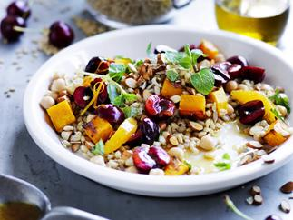 chickpea, barley, orange and cherry salad