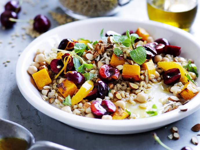 "**[Chickpea, barley, orange and cherry salad](https://www.womensweeklyfood.com.au/recipes/chickpea-barley-orange-and-cherry-salad-7466|target=""_blank"")**"