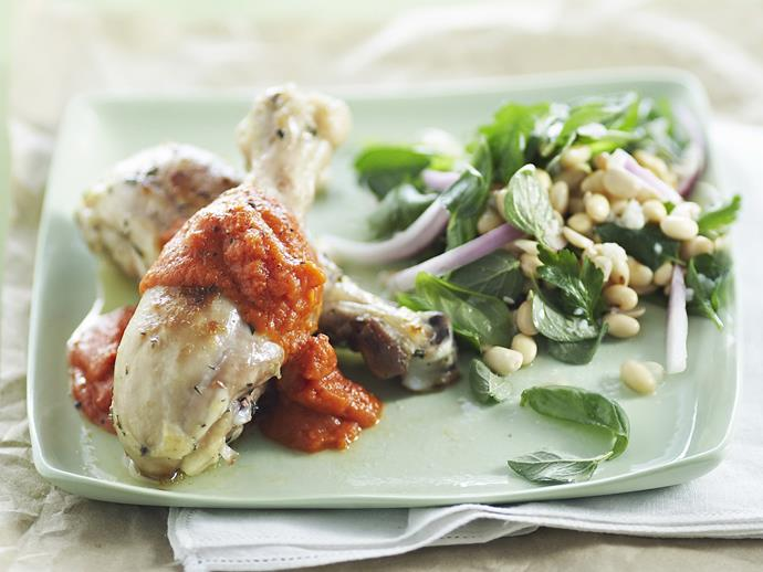 "**[Oven-baked drumsticks with soy bean salad](https://www.womensweeklyfood.com.au/recipes/oven-baked-drumsticks-with-soy-bean-salad-6037|target=""_blank"")**"
