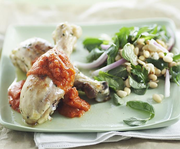 oven-baked drumsticks with soy bean salad