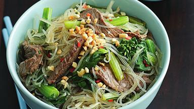 Lemongrass beef, noodle and peanut salad