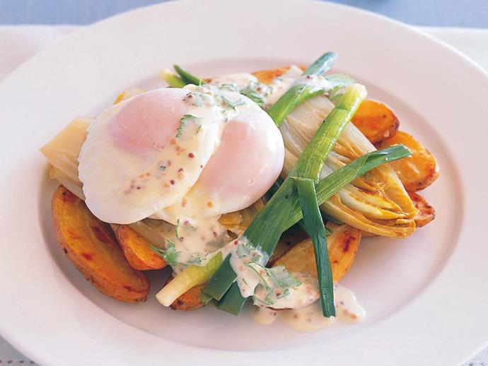 """**[Braised leek and witlof salad with poached eggs and roasted kipflers](https://www.womensweeklyfood.com.au/recipes/braised-leek-and-witlof-salad-with-poached-eggs-and-roasted-kipflers-14811