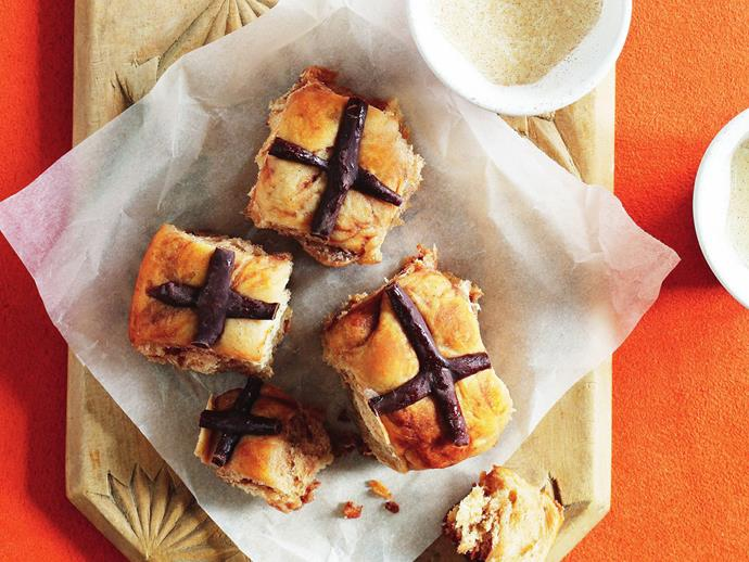 "A super fast and easy recipe for [classic hot cross scones](https://www.womensweeklyfood.com.au/recipes/mini-choc-chip-hot-cross-scones-6107|target=""_blank"") with the distinctive chocolate cross on top."